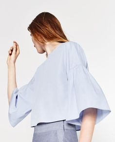 Image 3 of FRILLED SLEEVE TOP from Zara