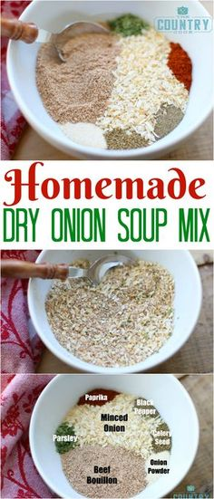 Factors You Need To Give Thought To When Selecting A Saucepan Homemade Dry Onion Soup Mix Recipe From The Country Cook. This Recipe Makes Exactly The Amount You Need To Substitute For One Packet Of Dry Onion Soup Mix Perfect Substitute For Recipes Homemade Dry Onion Soup Mix Recipe, Homemade Spices, Homemade Seasonings, Homemade Tacos, Dried Onion Soup Recipe, Gluten Free Onion Soup Mix Recipe, Homemade Mayonaise, Homemade Recipe, Homemade Food