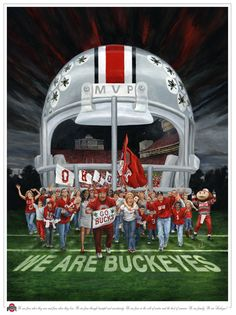 The paintings by Don Huber include his Ohio State Buckeye art, Song Shadow art, Morel Mushroom art and Virtue and Vice artwork Buckeyes Football, Ohio State Football, Oregon Ducks Football, Ohio State Buckeyes, College Football, Oklahoma Sooners, American Football, Buckeye Sports, Ohio State Wallpaper