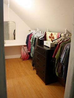 sloped ceiling closet - easy & inexpensive