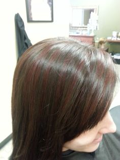 Chocolate Aveda color with red highlights.
