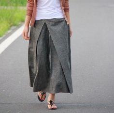 Plisado falda larga de lino gris negro y marino / Ramis por Ramies