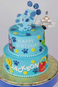 Blue's Clues Cake 2nd Birthday Cake Boy, Blue Birthday Cakes, Blue Birthday Parties, 2nd Birthday Party Themes, Birthday Ideas, Blue's Clues, Clue Themed Parties, Clue Party, First Birthdays