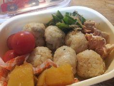 For my son. きのこの炊き込みご飯、秋鮭のバターソテー、絹さやのじゃこ炒め、南瓜レモン煮