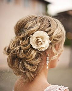 messy chigon looking natural curl updos wedding hairstyles