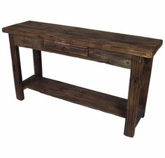 Old Wood Sofa Table With Shelf