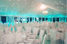 tiffany blue wedding lighted reception  Oh my glob, this would be perfect with big red poppy centerpieces.