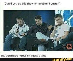 Misha looks like he is in pain and Jensen is like They will kill me 90 more times and marks like don't make me deal with dead dean more