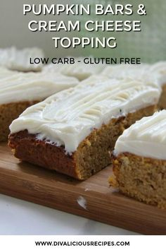 Pumpkin Bars with Cream Cheese Frosting - Divalicious Recipes Pumpkin bars slathered with a cream cheese frosting are a delicious cake baked with coconut flour. A low carb and gluten free cake that will have you reaching for another. Low Carb Sweets, Low Carb Desserts, Gluten Free Desserts, Low Carb Recipes, Gluten Free Pumpkin Bars, Free Recipes, Healthy Pumpkin Recipes, Canned Pumpkin Recipes, Low Carb Cupcakes