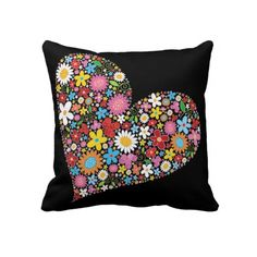 """Whimsical Spring Flowers Valentine Heart Cute Love. Throw Pillow 20"""" x 20""""."""