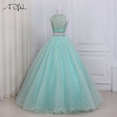 Special Occasion Dresses · ADLN 2017 High Quality Two Piece Quinceanera Dress  O-neck Sleeveless Beaded Crystals Sweet 16 1bf83a11b1e6