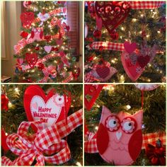 decorated valentines trees | Posted by debbie @ happy little cottage at 12:00 AM 8 comments: