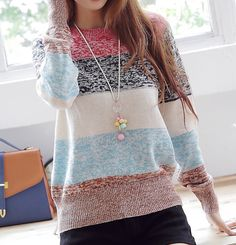 Comfy and Colorful Full Sleeve Sweater Moda Crochet, School Looks, Look Chic, Autumn Winter Fashion, Fall Fashion, Fashion Ideas, Color Fashion, Style Fashion, Fashion Trends