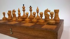 The game board and figures are made of wood, without chips and defects, without restoration. The figures are graceful, they have a rounded shape, white figures have scuffs. The horses are made entirely of wood. This chess set is good for gift and collection. Board 32 * 32 * 5 cm. square 3.7 * 3.7 cm. King 8 cm. Queen 7 cm. Bishop 6,5 cm. Knight 5.5 cm. Rook,5 cm. Pawn 4.3 cm.