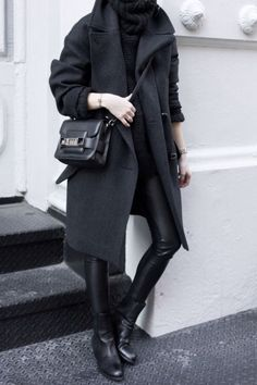 Black On Black // Oversize Collar // Alexander Wang Boots // Proenza Schouler Bag