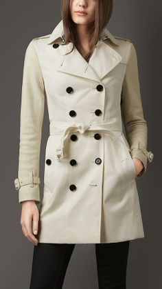 Burberry London Long Gabardine Trench Coat With Python Sleeves