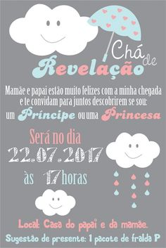 Convite Chá de Revelação (digital) Chá de bebê -  Cinza Azul Rosa Nuvem - Chuva - Chuva de Amor - Chuva de Benção