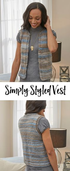Simply Styled Vest knit in Evermore. The classic shape of this warm vest lets the beautiful colors of Evermore yarn really shine. Perfect for layering, this vest is sure to become a favorite. Crochet For Boys, Knit Or Crochet, Crochet Vests, Crochet Sweaters, Free Knitting Patterns For Women, Crochet Vest Pattern, Black Crochet Dress, Knitting Stiches, Knitted Blankets