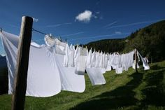 Putting fresh clean sheets on your bed, after they have blown dry on the line is heavenly.