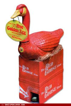 Red Goose Shoes with the golden egg prize.