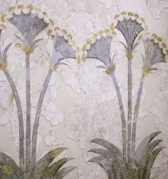 Fresco of the sea daffodils, Akrotiri, Santorini, Minoan period.