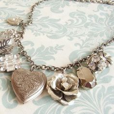 Necklace of Rhinestone & Silver-tone Lockets, Pendants, Earrings, Broaches attached to a Chain - Vintage Jewelry #UpcycledCostumeJewelry