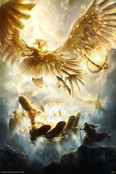 Main casting during the Angel Symposium. Foto Fantasy, Dark Fantasy Art, Fantasy Artwork, Fantasy Creatures, Mythical Creatures, Vision Art, Angel Warrior, Fantasy Warrior, Jesus Art