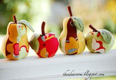 handmade home decorations, pear and apples made with fabrics, craft ideas