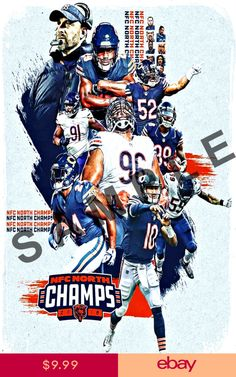 CHICAGO BEARS 12x18 NFL FOOTBALL TEAM POSTER NFC 2018 NORTH CHAMPIONS CHAMPS 25812c039