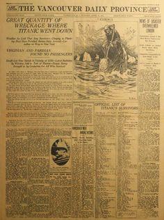 Newspaper headline day after Titanic sank.
