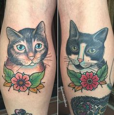 Stella and Gus cat portraits (cattoos!) by Meredith Little Sky of Terrarium Tattoo.