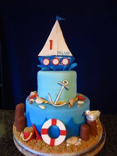Nautical 1st birthday cake - by Frostilicious Cakes & Cupcakes @ CakesDecor.com - cake decorating website