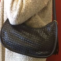 Genuine Leather Woven Front Hobo