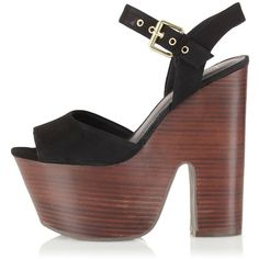 TOPSHOP LASSIE Ankle Strap Platforms ($110) ❤ liked on Polyvore