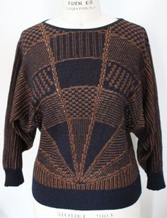 vintage piroli sweater from the 1980's black and by bubblemars