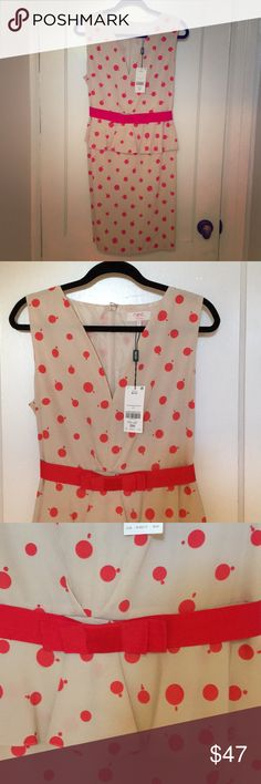 Adorable peplum dress. Brand new Adorable dress. New with tag attached. Beige with orange dots and bow belt. 100 percent polyester fully lined. Never worn. Will also look adorable with a cardigan. European size 16 Dresses Midi
