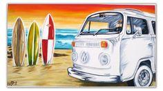Volkswagen Art ORIGINAL VW BEETLE ART BUG ART VOLKSWAGEN CAMPER BUS ...
