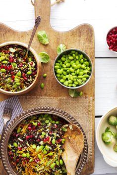 Shaved brussel sprout, pomegranate,  & lentil salad - Golubka Kitchen