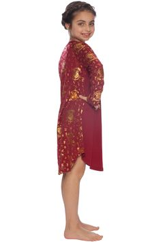 d7057f6447 Don t forget this Harry Potter Hermione Burgundy   Gold House Crest Raglan  Nightgown for cozy nights in the Gryffindor common room.