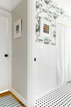 fun patterns mix in this mini hallway and bath makeover - coco kelley