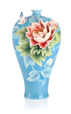 FZ03081 Franz Porcelain Butterfly and Peony Design Sculptured Vase Spectacular