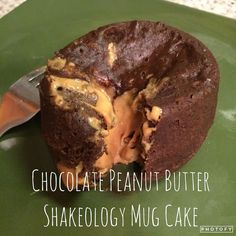 Chocolate Peanut Butter Shakeology Mug Cake!!! I've been thinking about this little baby all day! It was SO EASY and I mean, come on... protein for dessert? I'll take it! 1 scoop chocolate Shakeology 1 egg 1 tsp natural peanut butter Water Whisk egg, add shakeo, add water until mixture reaches cake mix-like consistency (this is uncalculated science, just follow me here). Pour half of your mix into a mug, add peanut butter, cover peanut butter with remaining cake-ish mix. Microwave for...