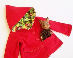 Patron de couture 1067  LITTLE RED Riding Hood fille veste Pdf, manteau Long manches tricot polaire tissé, enfant en bas âge bébé 2 3 4 5 6 7 8 9 ...