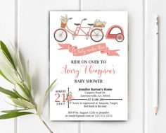 Bicycle Baby Shower Invite.  Shabby Chic Floral Shower.