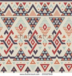 Vector Seamless Tribal Pattern in Smoky Colors. Geometrical Ethnic Print Background with Rhombus, Triangles and Stripes