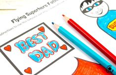 """Step 4 -FLYING SUPERHERO FATHER'S DAY CRAFT. Kids and Dads will love this printable superhero craft that really flies! Turn Daddy into """"Super Dad"""" with this fun and interactive Father's Day gift idea."""