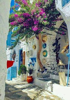The Grecian island of Syros is equally renowned for its art and architecture, its radiant florals and its jewel blue skies. Wonderful Places, Beautiful Places, Beautiful Pictures, Places To Travel, Places To Visit, Myconos, Santorini Greece, Syros Greece, Santorini Island