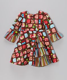 Take a look at this Brown Appleville Surplice Dress - Toddler & Girls by Beary Basics on #zulily today!