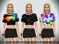 Rainbow Top by Paogae at TSR via Sims 4 Updates