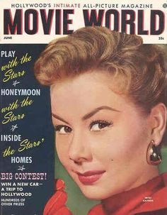 "Mitzi Gaynor on the cover of ""Movie World"" magazine, USA, June 1956."